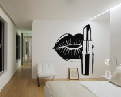 Wall Vinyl Sticker Decals Mural Room Design Decor Pattern Lips Lipstick Make Up Gloss Beauty Salon mi414