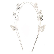 Claires Silver Double Row Butterfly Headband Girls Silver