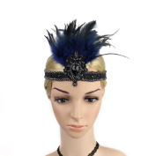 Meiliy 1920's Flapper Great Gatsby Headband Vintage Feather Headpiece Hair Accessories