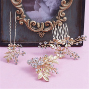 BININBOX Wedding Hair Combs Golden Crystal With Bead For Women Bridal Bridesmaids Headpiece Jewellery Head Band Accessorie