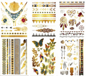Premium Colour & Metallic Temporary Tattoos - 75+ Jewellery-Inspired Shimmer Designs in Gold, Silver, Pink, Turquoise, Green