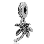 Sparkling Palm Tree/Coconut TreeI/Tropic Trees Charm 925 Sterling Silver Dangling Bead Fit DIY Charms