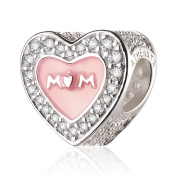 ATHENAIE 925 Sterling Silver Clear CZ Pink Enamel Love for Mother Bead Charms for Mother's Day