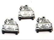 "Set of Three (3) Silver Tone Pewter Car with ""Just Married"" Sign Charms"