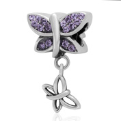 Butterly Charm with Small Butterfly Charm 925 Sterling Silver Animal Charm Dangle Charm Crystal Charm for Pandora Bracelet