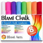 Blami Arts Chalk Markers with reversible bullet and chisel fine tip. Set of 8 shiny neon liquid chalk pens. Free Your Imagination with unique paint coloured chalkboard markers Now!