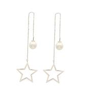 Women Fashion Jewellery 925 Silver needle Tassels Pearl Earrings Five-pointed star Threader Drop Earrings