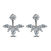 White Gold Plated Clear Crystal Leaf Feather Ear Jacket Dangle Earrings Back Ear Cuffs Stud Earring for Women