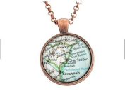 Charleston Map Necklace in Copper