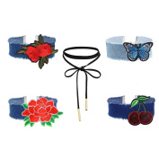 MingJun 5 PCS Blue Wide Denim Jeans Embroidery Flower Butterfly Cherry Chokers Set Length Adjustable Cute Necklace