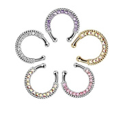 SUSHAFEN Pack of 5 Septum Ring Faux No Piercing Nose Ring Crystal Fake Septum Body Jewellery