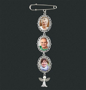 Wedding Boutonniere Angel Photo Charm Pin Brooch Cascading Triple Frame for Mother of Bride or Groom or Flower Bouquet