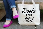 Books and Shit Tote Bag in Natural Colour