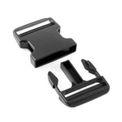 Gourd Plastic Clasp Side Release Buckle 5.1cm Webbing Strap Black, 2 Pairs