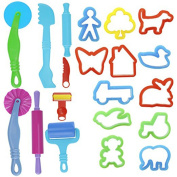 TOYMYTOY Dough Tools Kit with Models and Moulds 20pcs