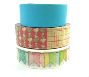 3pc Heart Banner Solid Scrapbook Washi Tape Set - Decorative Craft Sticker Paper 15mm