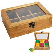 Strong Wooden Bamboo Tea Box Hinged Lid 6 Storage Compartments Container Sections Caddy Chest metal Locking Clasp