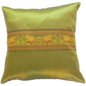 Pillow Cover Case Cushion *** Green *** Thai Silk THROW 44 cm x 44 cm Elephant elegant nice beautiful