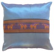 Pillow Cover Case Cushion *** Light Blue *** Thai Silk THROW 44 cm x 44 cm Elephant elegant nice beautiful