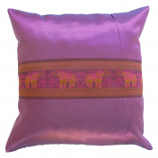 Pillow Cover Case Cushion *** Purple *** Thai Silk THROW 44 cm x 44 cm Elephant elegant nice beautiful