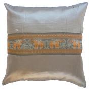 Pillow Cover Case Cushion *** Grey *** Thai Silk THROW 44 cm x 44 cm Elephant elegant nice beautiful