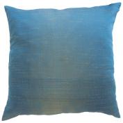 Pillow Cover Case Cushion *** Turquoise *** Thai Silk THROW 44 cm x 44 cm Wave elegant nice beautiful
