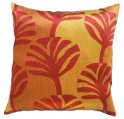 Pillow Cover Case Cushion *** Orange *** Thai Silk THROW 44 cm x 44 cm Leaf elegant nice beautiful