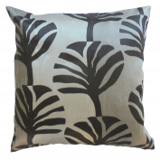 Pillow Cover Case Cushion *** Grey *** Thai Silk THROW 44 cm x 44 cm Leaf elegant nice beautiful