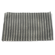 Grey and White Cotton Rich Striped Rug