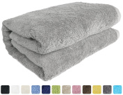 SALBAKOS Luxury Spa 100% Combed Turkish Cotton Large Oversized Eco-Friendly Bath Sheet 100cm x 200cm , Silver
