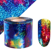 NICOLE DIARY Gradient Starry Sky Nail Foil Blue Holographic Paper Nail Manicure Sticker 10m