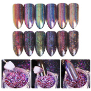 NICOLE DIARY 0.2g Chameleon Laser Nail Sequins Holo Flakes Powder Holographic Glitter Paillette