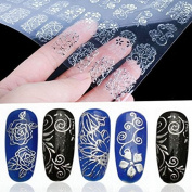 WISHNAIL 108 Silver 3D Flower Nail Art Stickers Decals Decorations Transfers Design Form