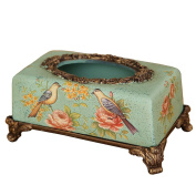 Retro Tissue Box Home Decorations Creative Display Flowers And Birds Tissue Box In Living Room Resin Crafts