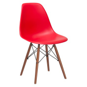 Poly and Bark Eames Style Moulded Plastic Dowel-Leg Side Chair with Walnut Legs, Red