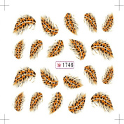 1pcs Colourful Feather Water Transfer Nail Art Stickers Leopard Nail Decals (1746) by Edgez