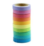 Washi Tape Set Hosaire 10x Decorative Washi Rainbow Candy Colour Sticky Paper Masking Adhesive Tape Scrapbooking DIY