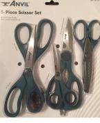 Scissor Set 5-Piece Anvil Craft Household Wave Pattern 15cm - 22cm Durable Scissors