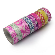 SUNNYCLUE 10Rolls 1.6cm 4.37 Yards/roll Printed Cotton Ribbon Adhesive Tape For Festive Decoration DIY Crafts Arts & Garden,Mixed colour