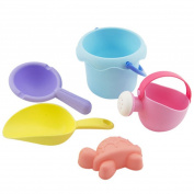 Vanvler 5Pcs Sandbeach Kids Castle Strong Bucket Spade Shovel Educational Beach Toys