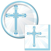 Blessing Communion Blue Lunch Plates & Napkins Party Kit for 8