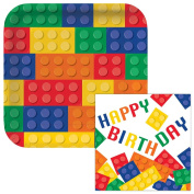 Building Blocks Happy Birthday Lunch Plates & Napkins Party Kit for 8