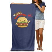Beach Towel The Happy Hamburger Cute Cartoon Microfiber Towel
