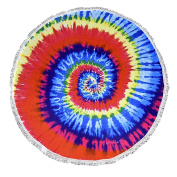 Peach Couture Roundie Beach Towel Yoga Mats Thick Terry Cotton with Fringe Tassels - Many Designs & Colours Rainbow