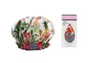 Dry Divas Designer Shower Cap For Women - Washable, Reusable - Large Bouffant Cap With Vintage Jewelled Brooch
