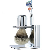 TwinLuxe 'Fine Shaving Instruments' CHROME Edition Shave Set - includes brush, razor, stand