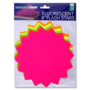 Fluorescent Mixed Colours 15cm Flash Display Stars, Pack of 12