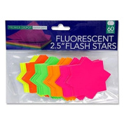 Fluorescent Mixed Colours 6.4cm Flash Display Stars, Pack of 60
