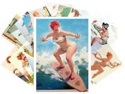 Pinup Postcard Pack 24pcs Chubby Sexy Girl Redhead Hilda Vintage illustrations