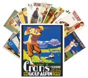 Postcard Pack 24pcs Golf Player Vintage Sport Travel Posters Magazines Ads